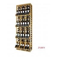 Estantería  Botellero EX2073 profesional fabricado en madera-120 botellas y 24 en expositores. Medidas: 210/68/38-42 cm fondo.