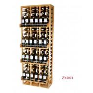 Botellero Estantería ZX2074 Expone 120 botellas y  24 marcas variadas de vino. Medidas: 210/68/38-42 cm fondo.