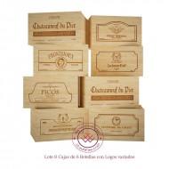 Lote 8 cajas madera de 6 botellas de vino / Logos variados. Medidas: alto 19/26/35 cm fondo.
