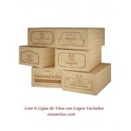 Lote de 6 Cajas de Madera -12 botellas de vino con Logos Variados. Medidas: alto 19/35/54 cm fondo.