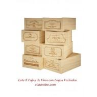 Lote de 8 cajas de madera para 12 botellas de vino / Logos Variados. Medidas: alto 19/35/54 cm fondo.