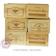 Set de 6 Cajas de vino en madera de pino de 6 Botellas con logos variados