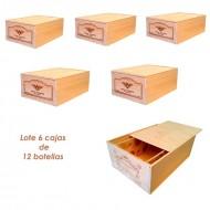 Lote de 6 cajas grandes de madera para 12 botellas. Logos variados