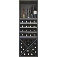 Estantería botellero para vinos y licores en negro de 126x42x42 cm