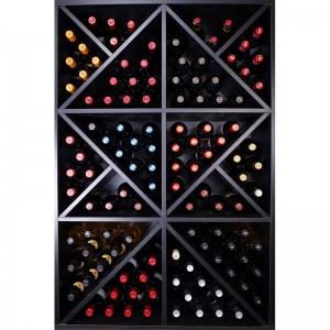 Mueble Botellero en Negro con divisiones y estantes interiores para 124 Botellas. Fabricado en España se entrega montado