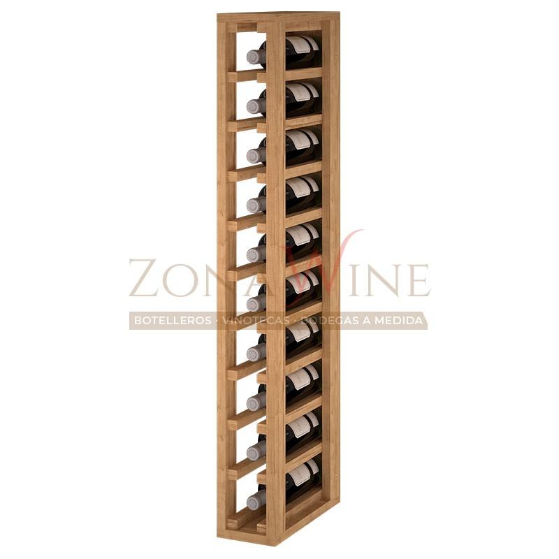 Botellero modular para 10 botellas de vino en madera de pino teñido color roble - foto 1