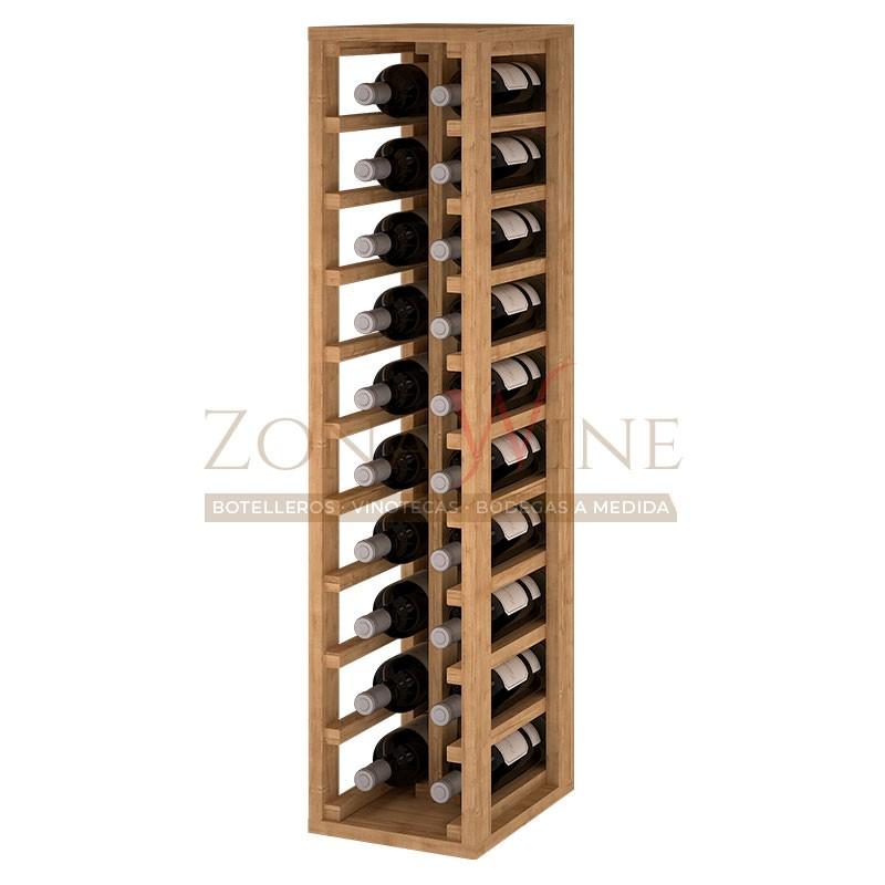 Botellero modular para 20 botellas de vino en madera de pino teñido color roble - foto 1