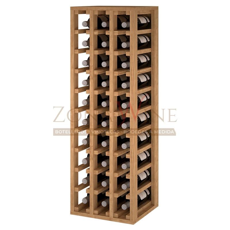 Botellero modular para 30 botellas de vino en madera de pino teñido color roble - foto 1