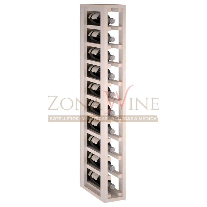 Botellero modular para 10 botellas de vino en madera de pino pintado en blanco - foto 2