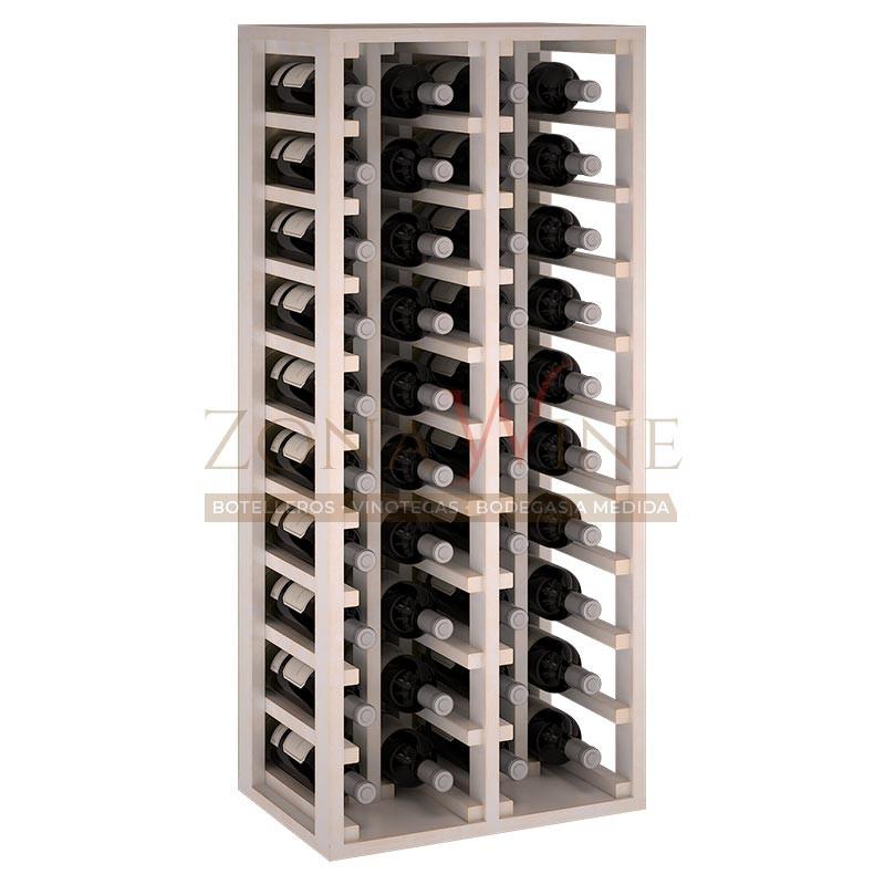 Botellero modular para 40 botellas de vino en madera de pino pintado en blanco - foto 2