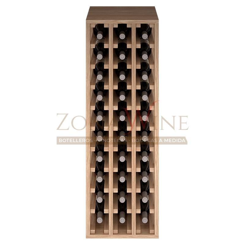 Botellero modular para 30 botellas de vino en madera maciza de roble - foto 3
