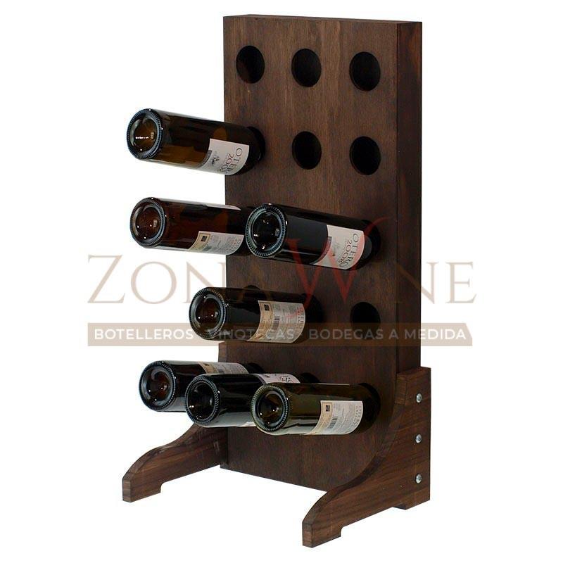 Botellero vino para 15 botellas en madera color nogal