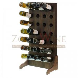 Botellero vino con capacidad para 28 botellas en color nogal
