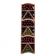 Cubo Botellero en madera de pino ondulada y teñida para 29 botellas. Módulos Apilables. 55x46x24 cm.