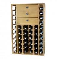 Mueble para 44 botellas de vino con 3 cajones arriba. 105x68x32 fondo