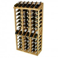 Botellero Expositor EX2068 para 12 marcas y 72 botellas de vino. Fabricado en madera de Pino o Roble, se entrega montado