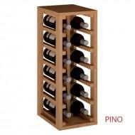 Botellero vino  apilable para 12 Botellas en madera Pino/Roble,  mueble para vino cocina o bodega 65/24/32 cm fondo|EX2010