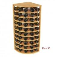 Botellero en madera de Pino para Rincón-50 Botellas en poco espacio. Alto 105/44/44 cm