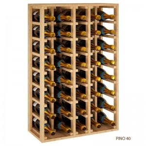 Botellero de madera 5 filas para 40 botellas Magnum Vino o Cava es apilable y combinable, mide 105*68*32 fondo. Entrega montado