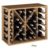 Botellero modular en madera con división para 34 botellas. Alto 54x46x32 fondo.