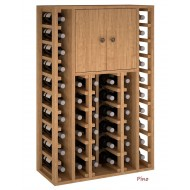 Armario Botellero 2 puertas en madera de Pino/Roble/44 botellas. Alto 105/68/32 cm fondo