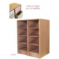 Estante de Pino para 8 Cajas de vino de madera de 12 botellas. Combina en altura 105/82/60 cm fondo
