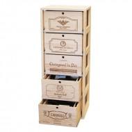 Mueble para vino con 5 cajas deslizantes en madera de Pino Barnizado.