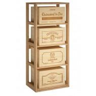 Estantería en madera de pino para 4 cajas de vino extraibles /6 botellas