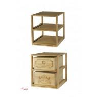 Estante botellero en madera de Pino/Roble para almacenar cajas de vino de madera de 12 botellas. Mide: 52/46/58 cm fondo