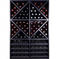 Mueble Botellero Style 112 Botellas en madera Negra con divisiones.