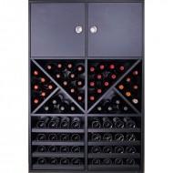 Botellero Aparador Negro 2 puertas | 72 botellas 12 copas.