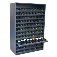 Botellero aparador con baldas extraibles en madera negra para 108 Botellas. Medidas: 126/84/42 cm fondo