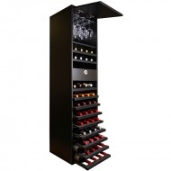 Botellero doble altura negro 44 botellas, 16 copas y cajón de accesorios