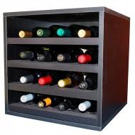 Botellero cubo negro para 16 botellas en 4 baldas extraibles