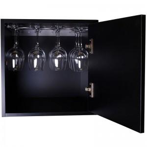 Cubo Combinable en madera Negra. Con Puerta y Soporte para Copas. Medidas 42/42/42 cm