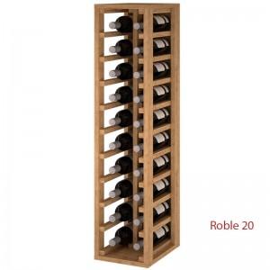 Botellero 2 columnas en madera de Pino o Roble para 20 botellas. Medidas: 105/24/32 cm