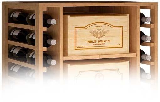 Estanterías y cajas de madera para guardar vino