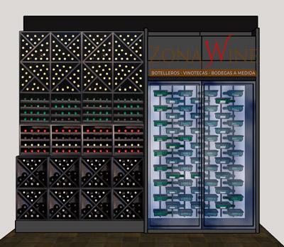 Cubo botellero 84 x84 cuádruple en blanco y negro EW6416