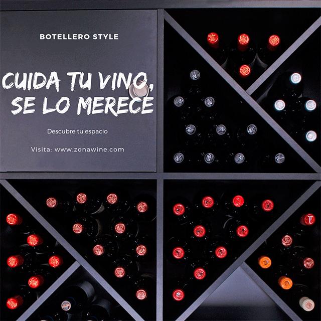 Cuida tu vino. Botellero negro serie Merlot