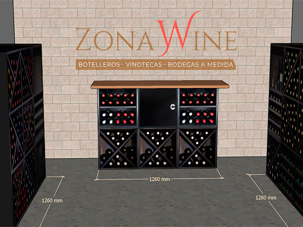 Triple cubo botellero en blanco y negro Sere Merlot zonawine.com